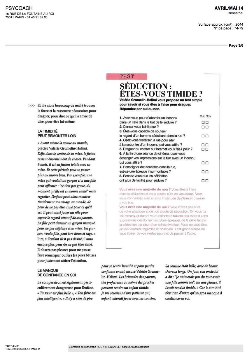 Article de presse Valérie Grumelin Psychologue à Paris