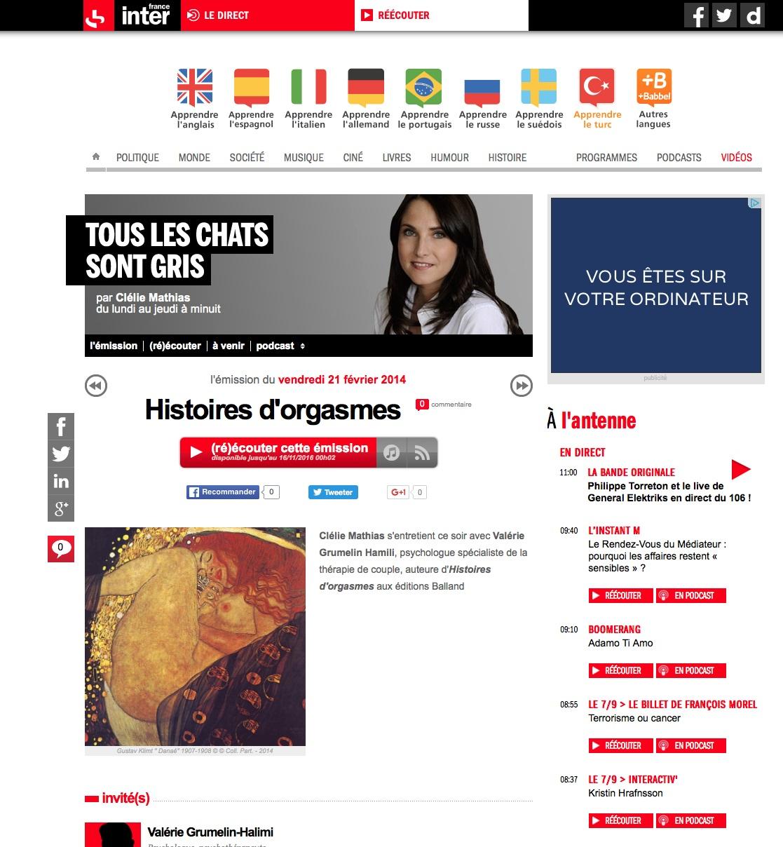 Emission radio interview Valérie Grumelin Psychologue à Paris