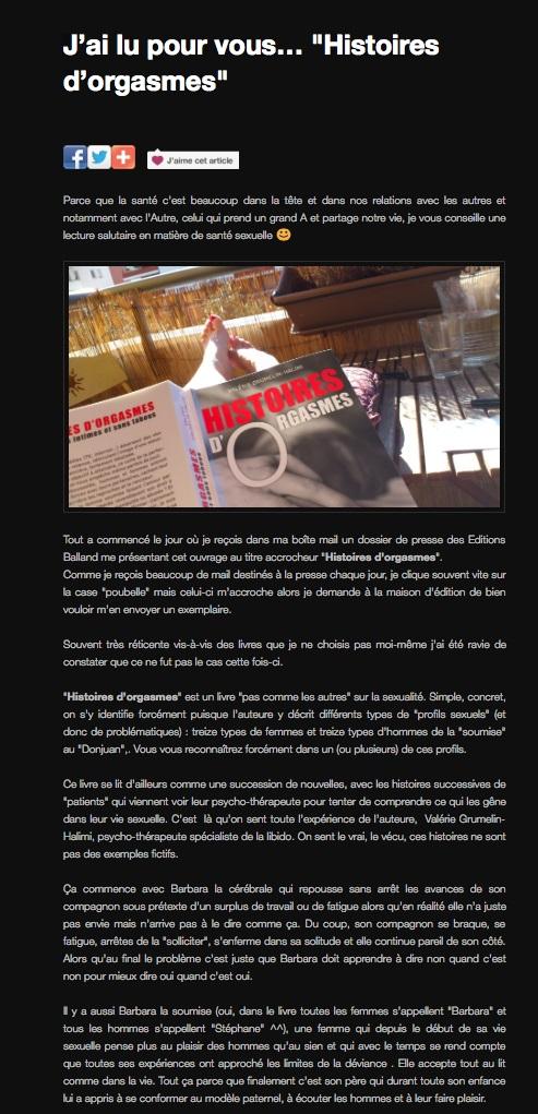 Article de presse blog au sujet de l'ouvrage histoires d'orgasme de Valérie Grumelin Psychologue à Paris